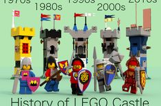 Evolution of lego mini-figure knights History Of Lego, Old Lego Sets, Lego Winter Village, Lego Universe, Used Legos, Lego Knights, Lego Craft, Old School Toys, Lego System