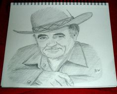 LOUIS L'AMOUR/WESTERNS WRITER// GRAPHITE PENCIL DRAWING SIGNED BY ARTIST   BW  #Realism