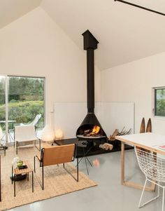 Vinalhaven living room and fireplace.