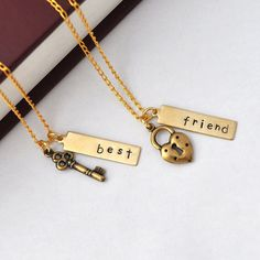 best friend necklace friendship necklace bff, key and lock necklace, gift for BFF, besties by jewelmint ($34) found on Polyvore