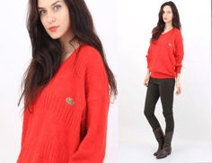 Vintage Lacoste Red Lipstick Cotton V Neck Sweater Size M Made in France by Ramaci on Etsy