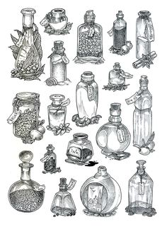 Bottles - lineart by JuliaTar