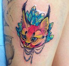 lynx tattoo with crystals @kshocs (instagram)