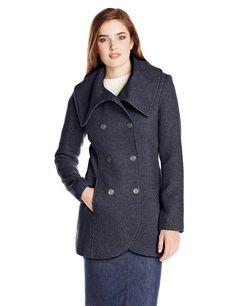 Jessica Simpson Women's Double-Breasted Fold-Collar Wool Coat at Amazon Women's Coats Shop
