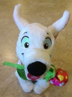 Disney Parks Bolt Dog w/Rose Flower Love Struck Tag Collar Plush Stuffed Toy  #Disney