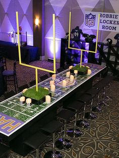 Brand Board for a football themed Bar Mitzvah. From planning, to inspiration board, to logo design to party favors - plus amazing extras. Football Banquet, Football Themes, Football Field, Football Decor, Football Birthday, Cowboy Birthday, Sports Birthday, 16th Birthday, Super Bowl