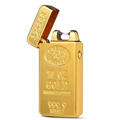 USB Rechargeable Windproof Arc Lighter USB Rechargeable Pulse Arc Gold Bric Shape Electronic Flameless Cigarette Lighter with Gift Box Usb Cable -- Read more  at the image link.