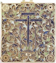 Новгород, 1561 - 1562 годы. Камень деманит , серебро; резьба, эмаль, скань, чернь, золочение.