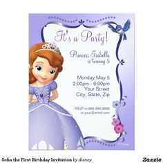 "Sofia the First Birthday Invitation 4.25"" X 5.5"" Invitation Card"