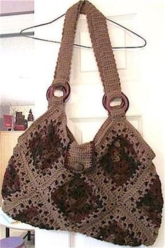 Crochet Granny Square Purse Pattern Ganchillo 49 New Ideas Crochet Shell Stitch, Crochet Tote, Crochet Handbags, Crochet Purses, Crochet Stitches, Granny Square Crochet Pattern, Crochet Squares, Crochet Granny, Granny Squares