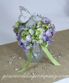 Hydrangea centerpiece with butterfly accent