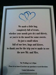 Wedding Hotel Guest Gift Bag Poem...  definitely copying this lol it's super cute!!!