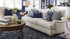 Essex Sofa by Bassett Furniture. Optional nail head trim is available. Gracious curves, style, and comfort define the Essex Fabric Sofa, with Charles of London arms and turned wood legs. Buy now or customize your own! Beige Living Rooms, Coastal Living Rooms, New Living Room, Formal Living Rooms, Home And Living, Blue And White Living Room, Blue Living Room Decor, Traditional Living Rooms, Cream Living Room Furniture