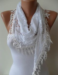 White Lace Shawl / Scarf  with Lace Edge by SwedishShop on Etsy, $17.90