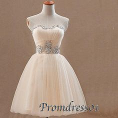 2015 cute sweetheart strapless beaded pink organza short prom dress for teens, evening dress, ball gown, bridesmaid dress, graduation dress, homecoming dress #promdress