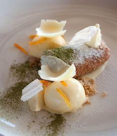 """Japanese cheese cake, pumpkin, wasabi, apricot, almond  and vanilla ice cream"" - WINE & DINE, Winelands, South Africa, Stellenbosch"