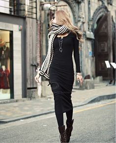 Fashionable Solid Color Long Sleeves Dress For Women (BLACK,ONE SIZE) | Sammydress.com