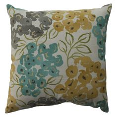 "Add a burst of floral prints to your home decor! Luxurious throw pillow measures 23"" x 23"", shell made of 100% Cotton, Polyester fill. Toss pillow has knife-edge design. Spot-clean only. Choose from Pool or Poppy designs."
