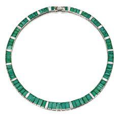 Platinum, Emerald and Diamond Necklace, Oscar Heyman & Brothers, Circa 1960 Emerald Necklace, Emerald Jewelry, Emerald Gemstone, Emerald Cut, Emerald Rings, Ruby Rings, Emerald Diamond, Jewelery, Jewelry Necklaces