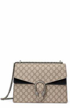 Gucci Large Dionysus GG Supreme Canvas & Suede Shoulder Bag