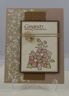 """Mooooooore """"Mocha Morning"""" Specialty DSP by Stampin' Up!  ♥♥♥ all the techniques going on in this """"Congrats"""" card.  The Hemp Twine makes it perfect!"""