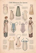 1911 Ladies Home Journal  Print - Girl's Afternoon Tea Aprons; Actresses Dresses