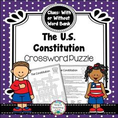 Constitution Crossword Puzzle by Time 4 Teaching Branches Of Government, Social Studies Activities, Early Finishers, Activity Centers, Vocabulary Words, Crossword, Constitution, Homework, Homeschool