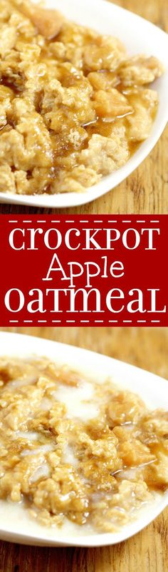 Overnight Crockpot Apple Oatmeal recipe with tangy apples, nutty oats, and sweet butter and powdered sugar glaze is a perfect overnight make ahead breakfast recipe for Fall and the holidays.