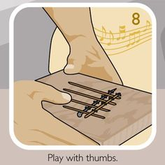 Thumb Piano; A wood block, bobby pins, staples and a screw are all you need to assemble a little wood block with pins that you press with your thumbs.