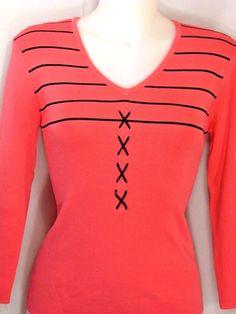 L~Finity~Pink Vneck Knit Top~Black Stripe & X Trim~Work~Retro~Rockabilly #Finity #KnitTop #careerCasual