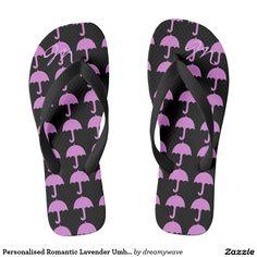 Personalised Romantic Lavender Umbrella Flip Flops