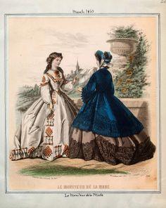 In the Swan's Shadow: Le Moniteur de la Mode, March 1863.  Civil War Era Fashion Plate