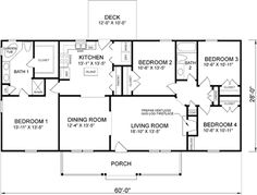 4 Bedroom Ranch House Plan   1 Floor, 4 Bedrooms(master Bedroom Separated  From The Other Bedrooms), 2 Bathrooms, Covered Porch :)