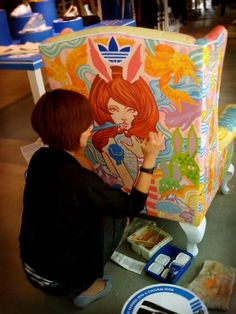 This is what painted chairs should be! ADIDAS Library chairs painting by Ise Ananphada, via Behance Funky Painted Furniture, Painted Chairs, Art Furniture, Upholstered Furniture, Furniture Makeover, Painted Tables, Decoupage Furniture, Painting Furniture, Library Chair