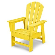 Your kids will enjoy relaxing outdoors in this POLYWOOD Kid's Casual Chair. It boasts a comfortable seat sized for kids, a classic outdoor furniture design, and solid POLYWOOD recycled lumber construction that's durable enough to withstand the elements. Kids Adirondack Chair, Recycled Plastic Adirondack Chairs, Polywood Adirondack Chairs, Adirondack Furniture, Classic Outdoor Furniture, Outdoor Furniture Design, Office Furniture, Patio Chairs, Outdoor Chairs