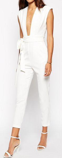 White plunge jumpsuit