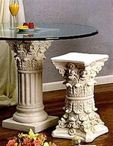 Beveled Glass Top Coffee Table On Cast Stone Corinthian