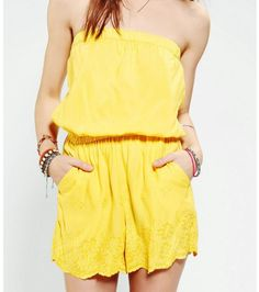 Urban Outfitters • yellow • strapless • romper