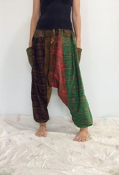 Mixed Colors Hippie Harem Pants, Unisex Pants, Drop Crotch Pants, Baggy Pants with Om patterned (HR-488) by ThaiFascinate on Etsy