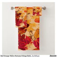 Red Orange Yellow Autumn Foliage Bath Towels