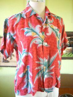 Vintage Rayon 'ALOHA' Hawaiian Shirt Loop Button by dragstripdolly