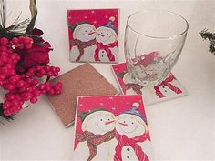 Ceramic Tile Coasters Cork Backed Trivets Set of 4 Snowmen