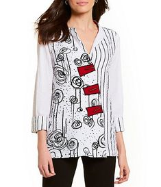 ab8793bf952128 Ali Miles Petite Size Printed French Cuff Tunic Top French Cuff, Petite  Size, Crinkles