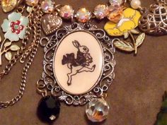 Alice in wonderland pendant necklace by avabunny on Etsy, $211.10