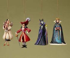 Disney figure Jim Showa Cruella Captain Hook 'Disney Villians Ornaments Set of 4023566 Jim Shore Disney Christmas Ornaments, Hallmark Ornaments, Xmas, Christmas Time, Christmas Ideas, Christmas Things, Christmas Decorations, Disney Figurines, Collectible Figurines