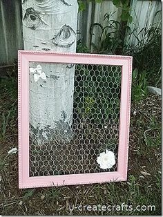 Made this with a painted goodwill frame. The chicken wire installation is a 2 person job