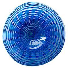 """Blue glass plate.  Product: PlateConstruction Material: GlassColor: BlueDimensions: 15.75"""" Diameter x 4"""" D"""