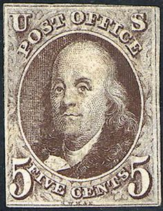 In 1847 ( July1)           the United States introduced its own postage stamps with adhesive backing. TheFIRST     U.S. postage stamp featured Benjamin Franklin, ...