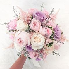 Brautstrauß mit Eukalyptus A very beautiful bridal bouquet hopped here in front of my camera! Wedding Flower Guide, Flower Bouquet Wedding, Purple Flower Bouquet, Bridal Bouquet Pink, Purple Bouquets, Floral Bouquets, Bouquet Of Roses, Rose Flower Colors, Pastel Bouquet
