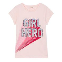 From the bluezoo range, this t-shirt is a great choice for adding sparkle to a girl's daytime wardrobe. Designed with a touch of soft cotton, it features sequin embellishment with the slogan 'Girl Hero'. Slogan Design, Girl Empowerment, Girls Tees, Fashion Moda, Fashion Fabric, Kids Wear, Pink Girl, Kids Outfits, Kids Fashion